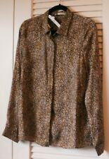 NWT alice + olivia by STACEY BENDET Leopard Print Long Sleeve Willa Blouse Large