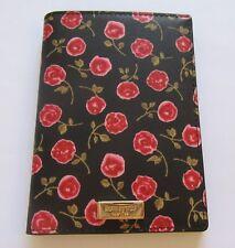 kate spade imogene laurel way hazy rose passport case- roses leaves- black red