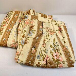 vintage pinch pleat curtain valance set 4 panels floral 5 pleats 22x53 brown