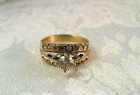 14K Yellow White Gold .89CT Diamond M VS1 Engagement ring Size 8.5 4.8gr