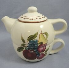 Tea For One Teapot and Cup Fruit Motif Pear Grapes Plums Home Around The Orchard