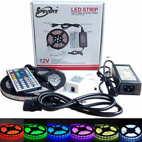 5/10/15M 5050 RGB MULTICOLOR 300 LED Strip Light+Remote Dimmer+12V Power Adapter