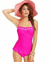 Hula Honey Size S Embroidered Bandeau One Piece Swimsuit Swimdress Pink NWT $56