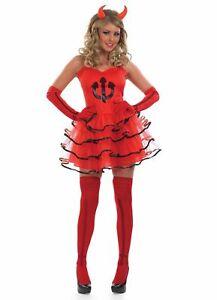Ladies Sexy Red Devil Temptress Halloween Horror Fancy Tutu Dress Size 14-16