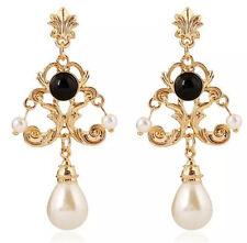 BELLA Zara stile Barocco Bianco Nero Perla Goccia Orecchini pendenti nuovi