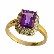 NATURAL AMETHYST RING GENUINE DIAMOND 9K 375 GOLD SIZE O FEBRUARY BIRTHSTONE NEW