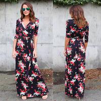 Women V-Neck Boho Long Maxi Evening Party Beach Dress Vintage Floral Sundress AU