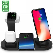 6in1 Soporte Inalámbrico Qi rápido estación base de carga para iPhone de Apple Watch airpods