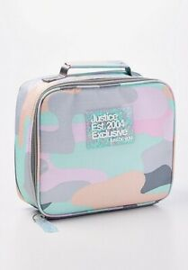 New! Justice Girls Patel Camoflague Lunch Tote Rectangular