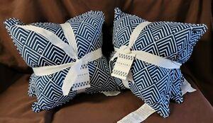 "2 - 2Pk Diamante Indigo Indoor/Outdoor 18"" Filled Square Throw Pillows"