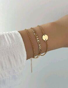 3pcs disc decor Chain bracelet - gold Colour