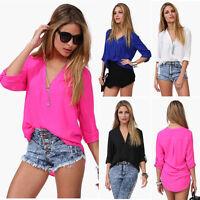 Neu Damen Sommer V-Ausschnitt Chiffon Langarmshirt Lässig Hemd Bluse Tops Shirts