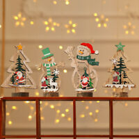 Christmas Wooden Ornament Santa Claus Snowman Xmas Tree Hanging Table Decor Gift