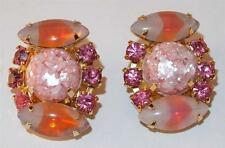 VTG PINK &WHITE GIVRE GLASS NAVETTES CONFETTI LUCITE & RHINESTONES CLIP EARRINGS