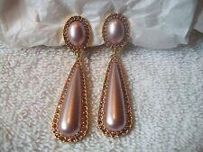 NOLAN MILLER Shimmering Faux Pearl & Crystal EARRINGS Clipons NIB Free Ship