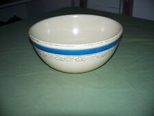 Antique Pottery Country Mixing Bowl 9 x 5 in Cream Blue Stripe Has Floral Print