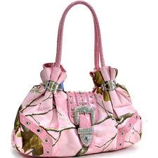 New Realtree Camouflage Women Leather Shoulder Bag Handbag Day Purse Rhinestone