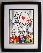 """1975 Alexander CALDER ORIGINAL Lithograph """"Poker Players"""" AUTHENTIC FRAMED COA"""