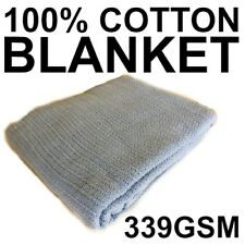 100% COTTON BLANKET 339GSM BLUE CELLULAR SINGLE SIZE X 1 HOSPITAL CARE QUALITY