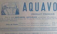 Publicité Prospectus AQUAVOR anti- buée anti-pluie automobile XXéme