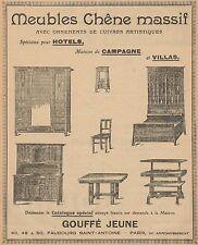 Y9668 Gouffé Jeune - Meubles Chene Massif - Pubblicità d'epoca - 1907 Old advert