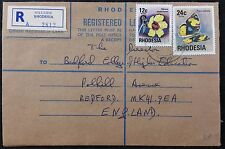 Rhodesia QE2 1977 Postal Stationery Registered Cover to GB, Hillside Cancel.
