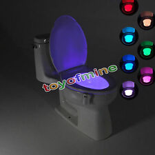 Toilettes LED Veilleuse Lampe 8Couleur Capteur Mouvement Automatique WC Lumière