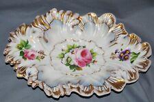 Zierschale Prunkschale Krister Waldenburg, Schlesien,1845-70, Blumen, handgemalt