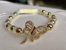 Sim Opalite Adjustable Bracelet 6.5-9� Simulated Diamond Gold tone Metal Beads