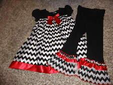 BONNIE JEAN 4T BLACK WHITE RED DRESS LEGGING SET