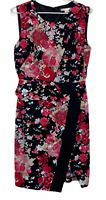 Jane Lamerton Womens Black/Red Floral Sleeveless Lined Peplum Dress Size 10