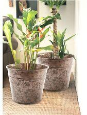 Set of 2 Plant Pot Large Round Metal Garden Indoor Outdoor Flower Plant Pots UK