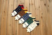 For Men New Athletic Sports Cotton Crew Ankle Socks 5 Pairs Lot Polka Dots Style