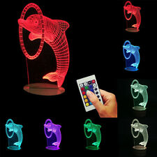 NEW  3D Dolphin illusion LED Night Light 7 Color Table Desk Lamp
