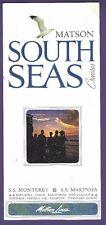 SS Monterey and SS Mariposa South Seas Cruises Brochure - Matson Lines