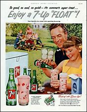 1953 7-Up cola ice cream float family picnic soda vintage photo Print Ad adL65