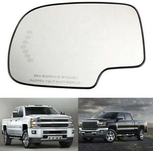 Mirror Glass Heated Turn Signal For 2003-2007 Chevy GMC Cadillac Driver Side LH