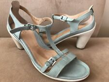 Ecco Sculptured 65 T Ankle Strap Sandal Aqua  Leather Rubber Heels 41 US 10-10.5