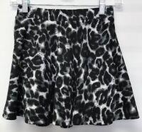 Forever 21 Size Small Mini Circle Skirt Black Gray White Leopard