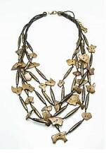Handmade Chunky Statement Natural Coconut Wood Beads Multi Layer Bib Necklace