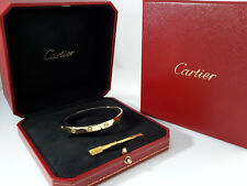 Authentic CARTIER LOVE bracelet 18K Y/G BANGLE size 18 w/ Papers - B3583