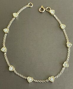 "18ct Yellow Gold Diamond Bracelet 1ct Solitaire Heart Station By Yard 8"" Solid"