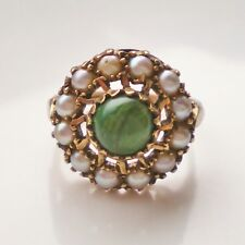Pearl Cluster Ring c1966; Uk Size 'J' Fine Vintage 9ct Gold Green Turquoise &