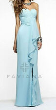 Faviana ~ Aqua Blue Chiffon Ruffled Sweetheart Low Back Formal Gown 4 NEW $278