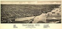 MAP TACOMA 1884 VINTAGE LARGE WALL ART PRINT POSTER PICTURE LF2628