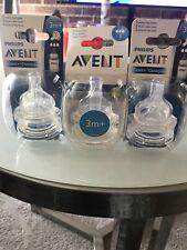 Lot of 3 Philips Avent 3M+ Medium Flow Bottle Nipples BPA FREE