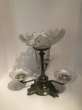EPIC ENGLISH EPERGNE WITH HIGHLY DETAILED HIPPOCAMPS PERIOD CUT GLASS BOWLS