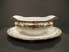 Noritake No. 175 Gravy Boat Underplate Sauce Bowl Gold Christmas Ball EXCELLENT