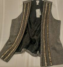 Chicos Size 3 Wool Blend Trinket Tweed Roxanne Lined Studded Vest Jacket New