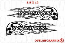 PERSONALIZED SKULL-FLAMES DECAL SET FOR YOUR HARLEY OR OTHER-CHOOSE COLOR & TEXT